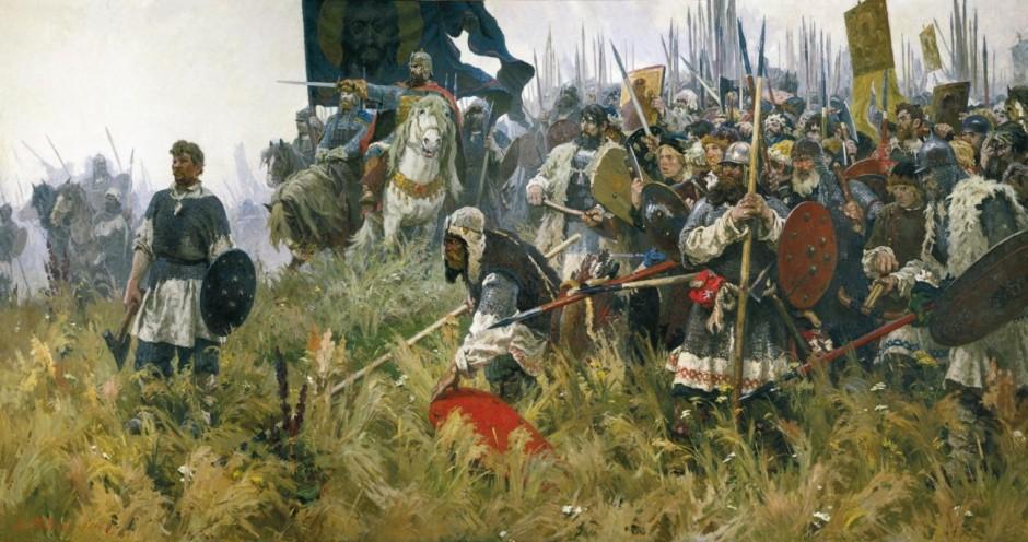 «Утро наКуликовом поле». Русичи осматривают бесконечные ряды ордынских ОМОНовцев иВВшников.