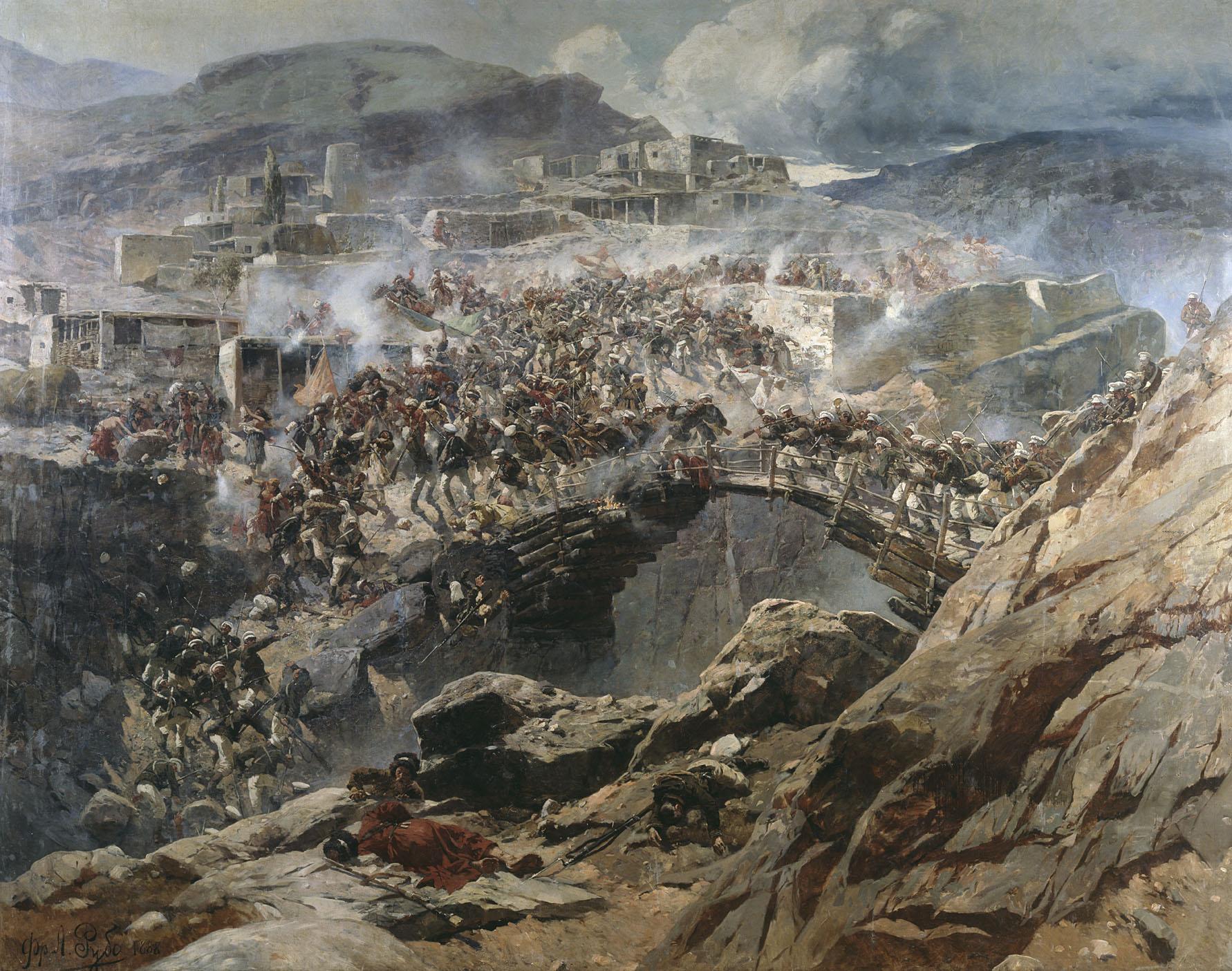 Франц Рубо, «Штурм аула Ахуль-го», резиденции Шамиля. 1839 год, спустя 20 лет после взятия Дади-Юрта