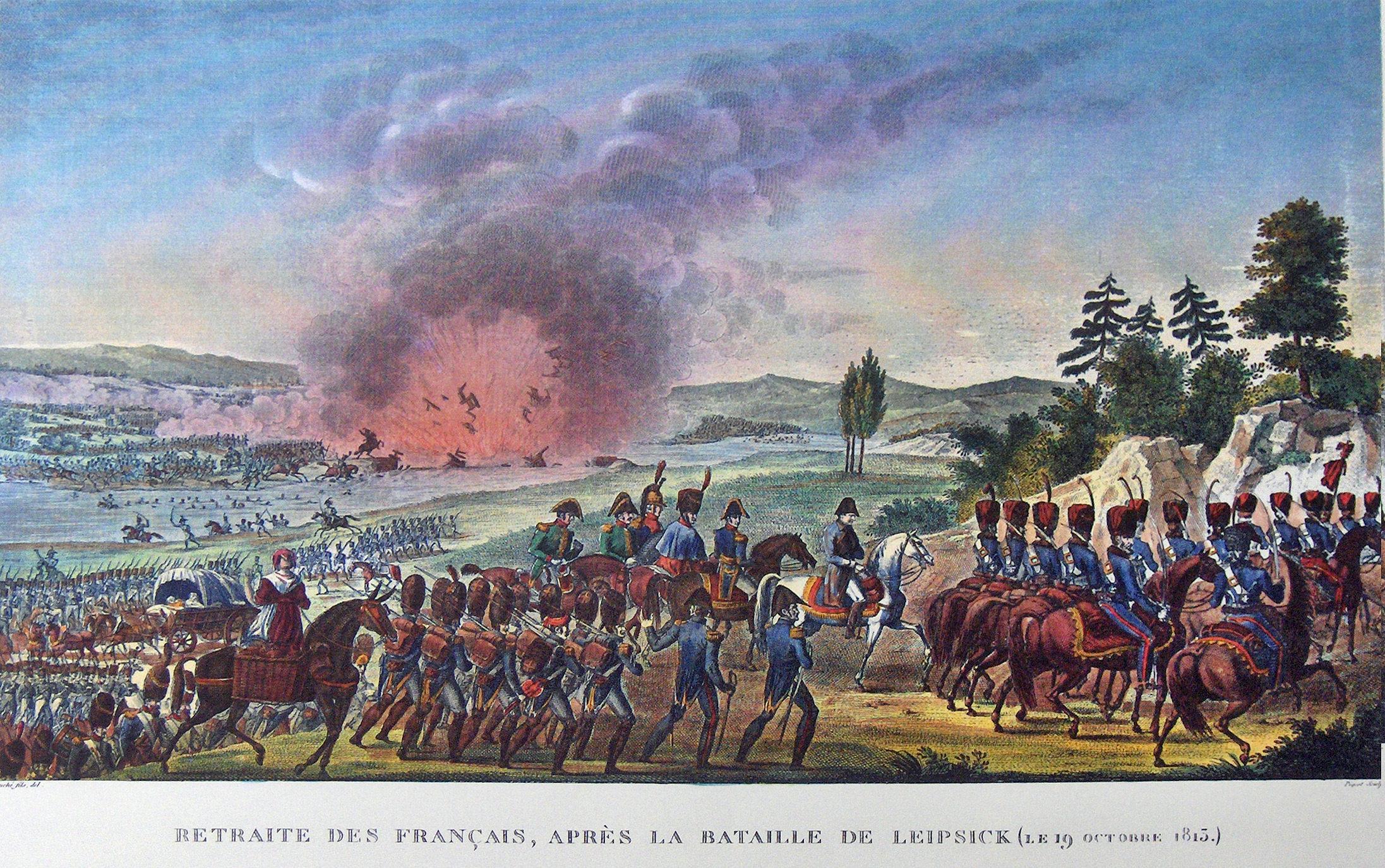 Terugtrekking der fransen na de slag bij Leipzig 19 oktober 1813