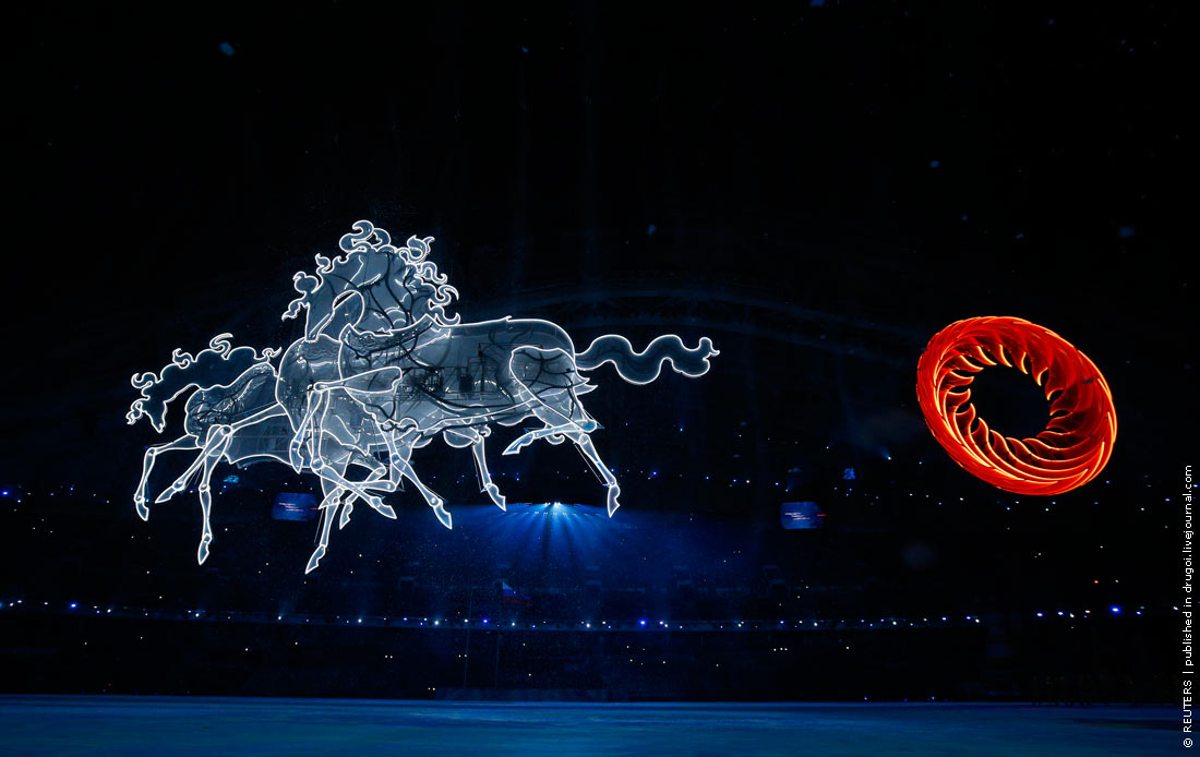Figures depicting horses are displayed during the opening ceremony of the 2014 Sochi Winter Olympic Games