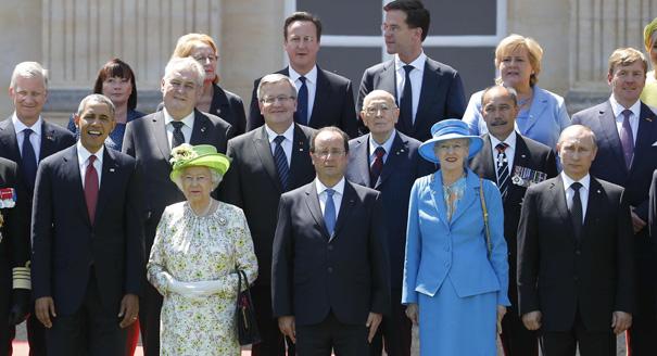 Barack Obama, Francois Hollande, Queen Elizabeth II, Vladimir Putin