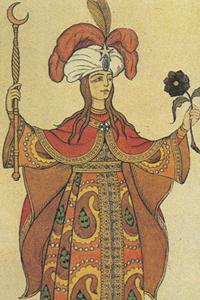 Шамаханская царица, эскиз Билибина к опере «Золотой петушок»