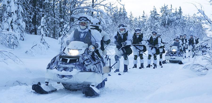 Учения арктической бригады Северного флота в Мурманской области, февраль 2016 г.