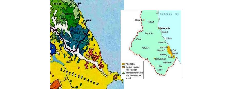 Этническая территория азербайджанцев в Дагестане (всего в республике их 130 тыс. чел. или 4,5% от всего населения)