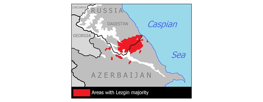 Территория проживания лезгинского народа в Азербайджане (180 тыс. чел) и России (473 тыс. чел.) по официальным данным переписей населения