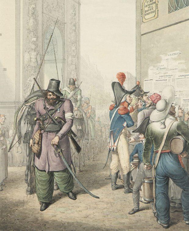 Казачий полк проходит поцентру Парижа, по-видимому,впервый день торжественного вступления союзников вофранцузскую столицу. 19 (31) марта 1814г., около 9часов утра, колонны союзных армий сбарабанным боем, музыкой ираспущенными знаменами двинулись через ворота Сент-Мартен вгород. Позади лейб-гвардии Казачьего полка воглаве огромной свиты вПариж въехал российский император Александр Iидругие монархи. Заними последовали остальные части.