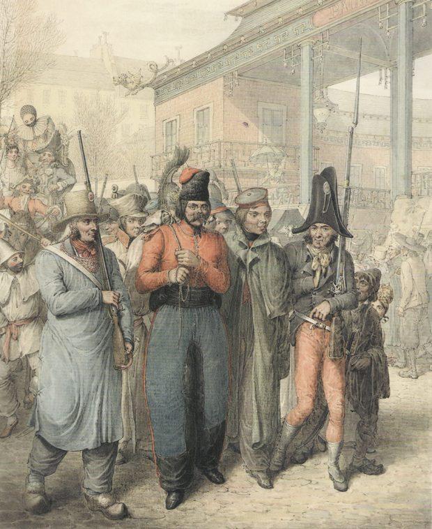 Вооруженные французские солдаты национальной гвардии сопровождают безоружного казака смешком заспиной ирусского офицера вплаще (вероятно, улана). Заними движется толпа, состоящая извоенных (поголовному убору можно различить еще одного казака, русского солдата пехотных полков, драгуна или кирасира), атакже мирных горожан, актеров бродячего театра, мальчишек ит.п.