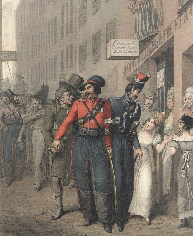 Заинтересованные парижане наблюдают запрогуливающимися погороду казаками. Мужчина приподнимает шляпу взнак признательности заполученную монетку, женщины приглашают казаков посетить кофейню, над которой висит вывеска сменю. Указака всиней куртке нагруди изображена медаль 1812г.иГеоргиевский крест, указака вкрасной куртке— только серебряная медаль 1812г.наАндреевской голубой ленте.