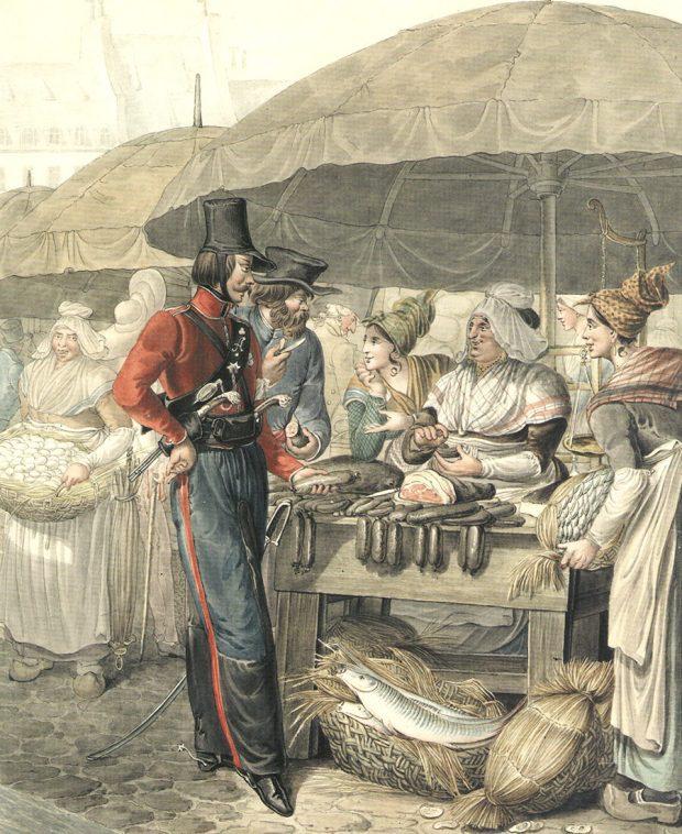 Визображенной сценке беседы-покупки съестных припасов донской казак ссеребряной медалью 1812г.нагруди приценивается кдомашней колбасе, авторой русский вкрестьянской одежде отрезает отколбасы кусок напробу.